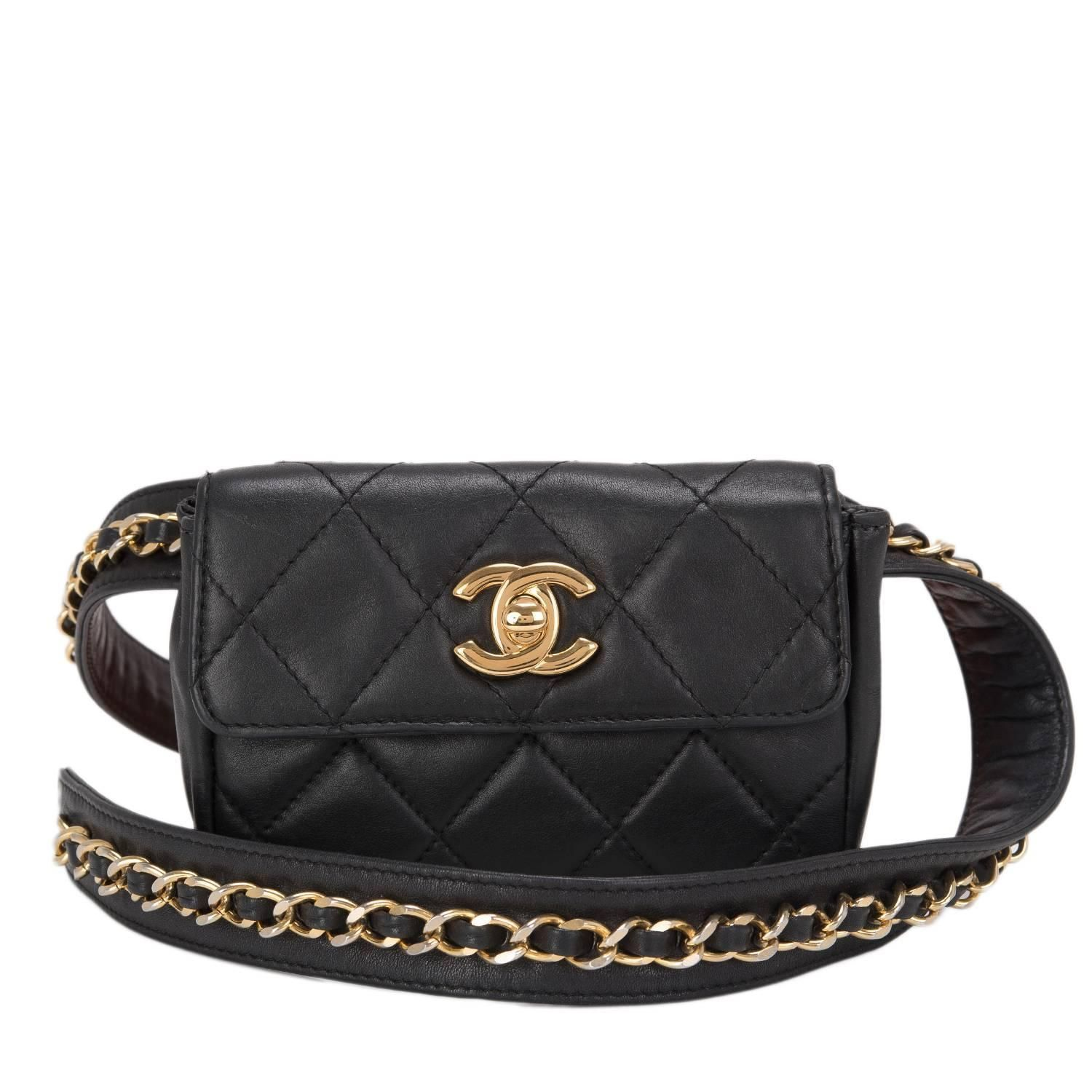 58d9393f3 Chanel Vintage Black Quilted Lambskin Iconic Chained Fanny Pack ...