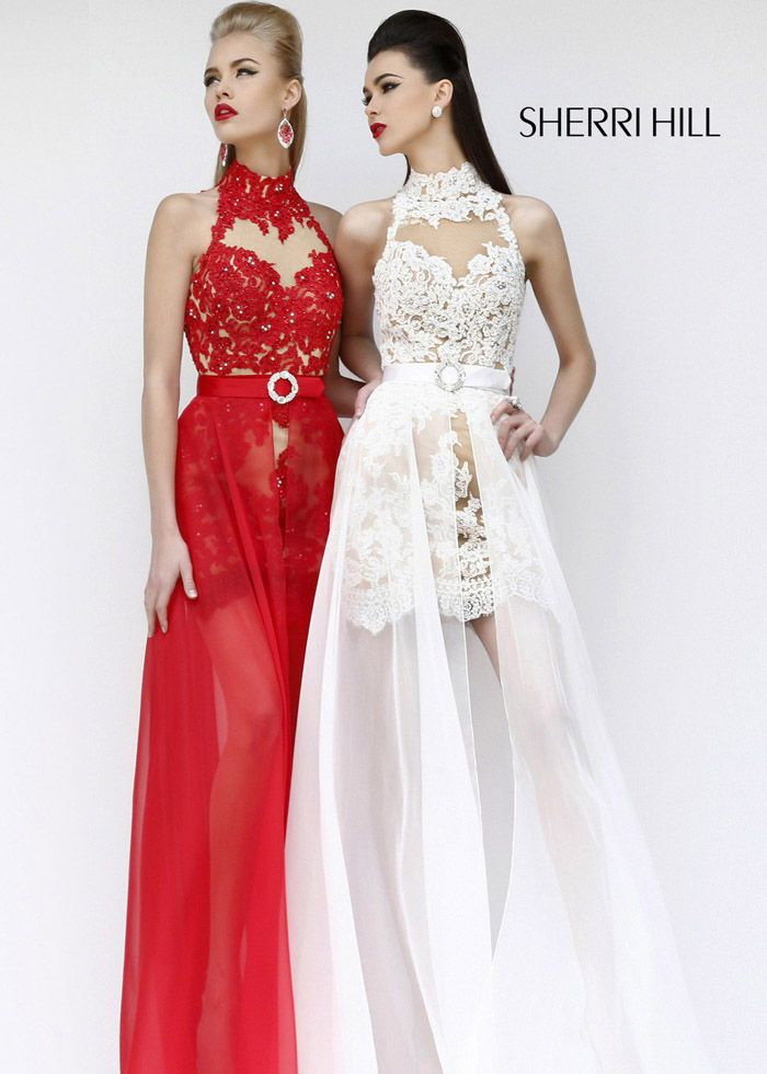 Sherri Hill 21213 Hi-Low Red Lace Homecoming Dress Online Sale ...