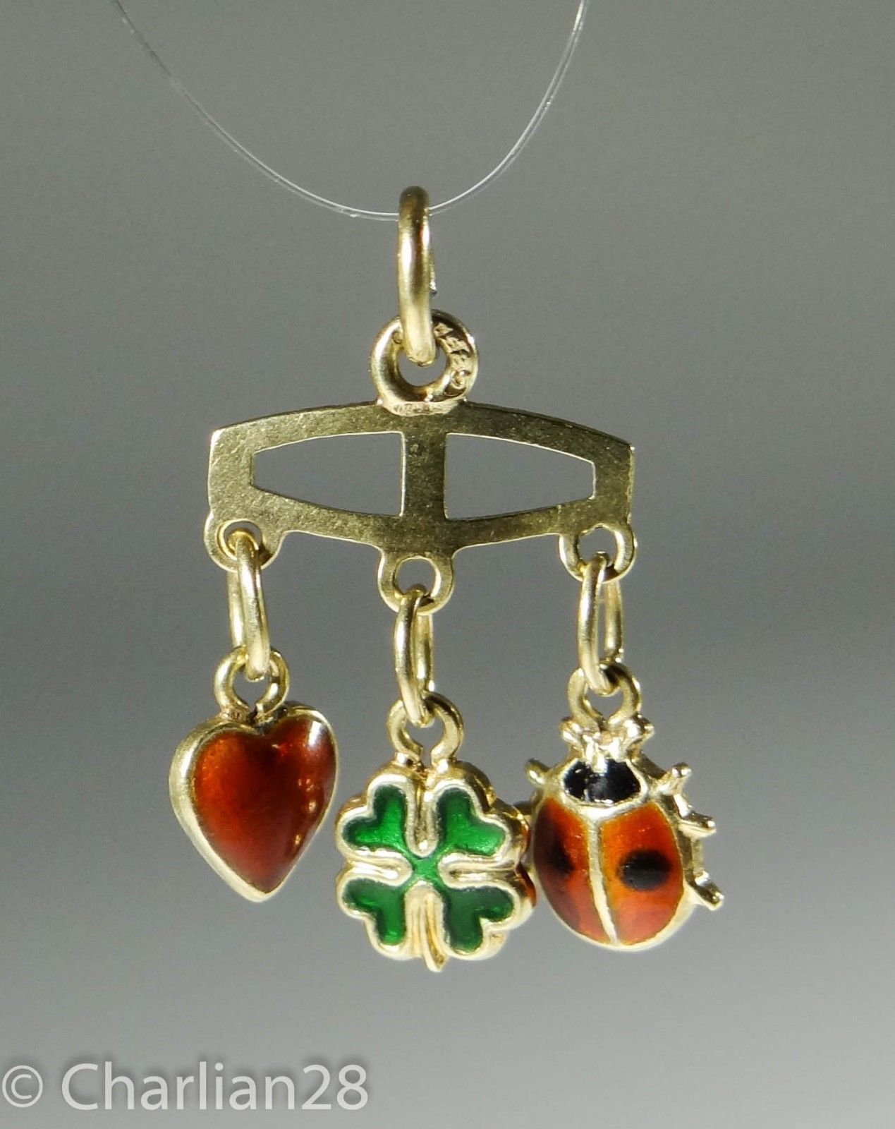 VINTAGE 14KARAT LUCKY GOLD CHARM HEART CLOVER LADYBUG GLÜCKSANHÄNGER 585  A1032 | eBay