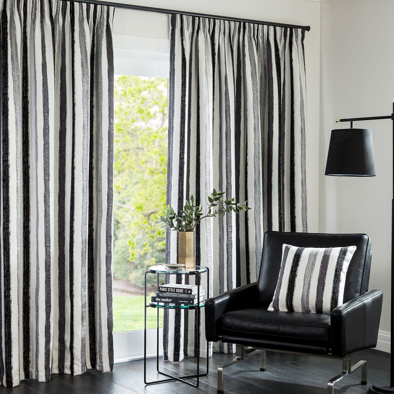 Lincoln Slate Readymade Lined Pencil Pleat Curtain Curtain