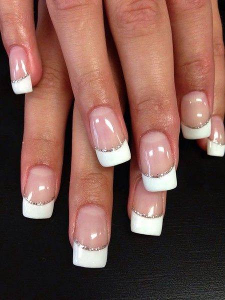 Glitter Lined French French Tip Nail Designs French Acrylic Nails French Manicure Nails