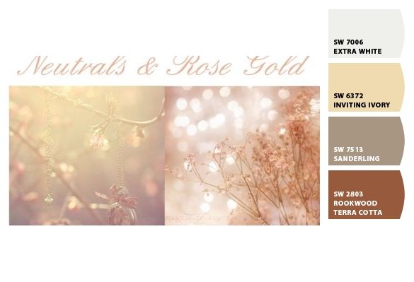 Paint colors by Sherwin-Williams | Rose gold color palette. Gold color palettes. Rose gold color