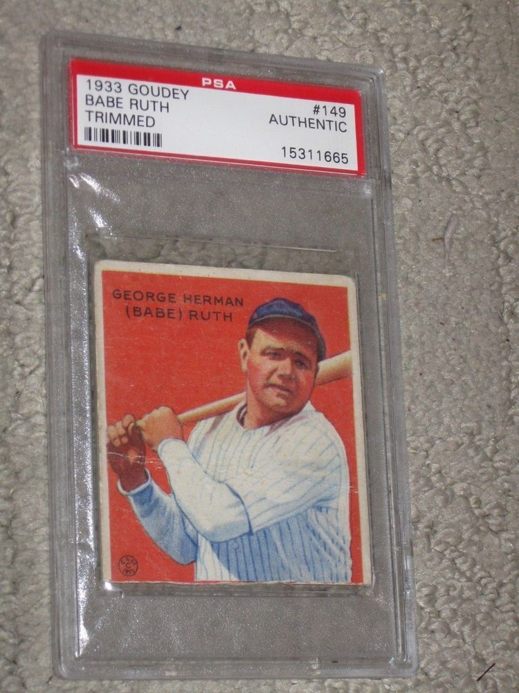 1933 goudey 149 babe ruth rookie rc psa authentic trimmed