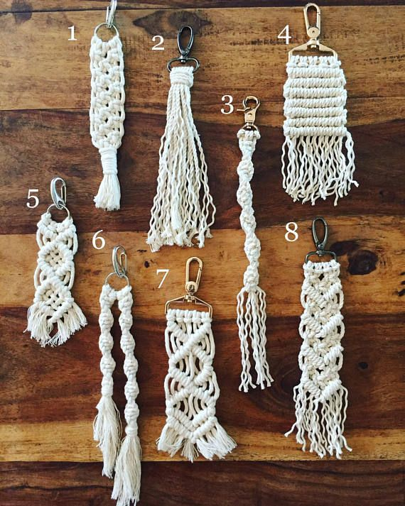 These macrame buddies are ready to hang out on your key chain or on your favorite bag! Finished products will vary