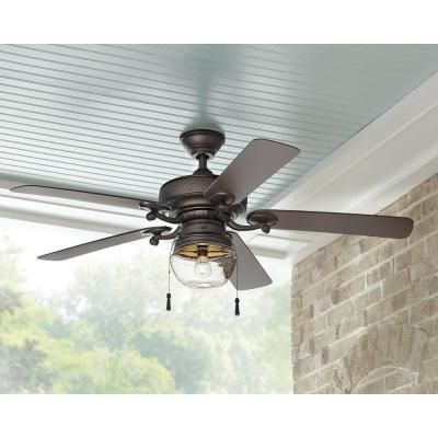 Home Decorators Collection Bromley 52 In Led Indoor Outdoor Bronze Ceiling Fan With Light Kit 34346 The Home Depot Farmhouse Ceiling Fan Bronze Ceiling Fan Farmhouse Style Ceiling Fan