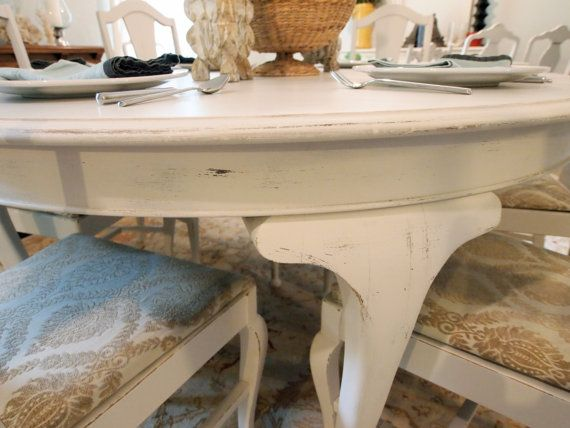 white round distressed dining table with 6 queen by noteworthyhome - Distressed White Kitchen Table