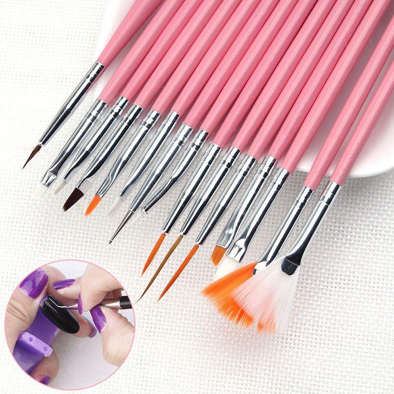 15 Pcs Nail Art Brushes Design Set professional Painting  Drawing pen UV nail gel Polish Brush Pen Tools #Affiliate
