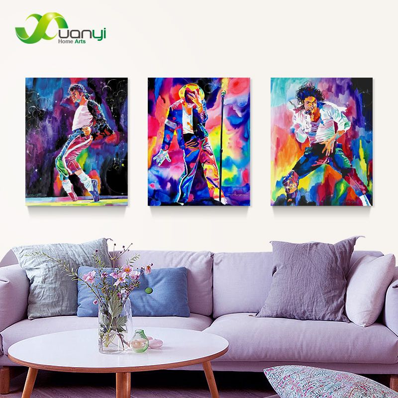 3 Panel Oil Painting Picture Canvas Famous Star Michael Jackson Home Decor Printing On
