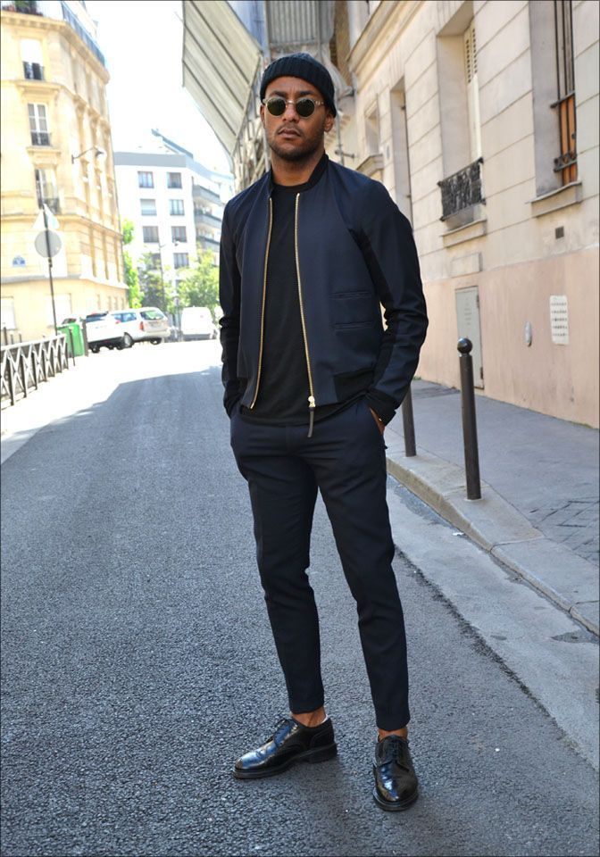 Men's Navy Bomber Jacket, Black Crew-neck T-shirt, Navy Dress Pants, Black  Leather Derby Shoes