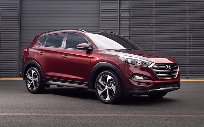 Download Wallpapers Hyundai Tucson 2018 Burgundy Crossover Side