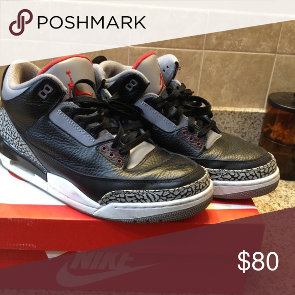 Black cement 3's Worn but in good condition for how old they are Jordan Shoes Sneakers