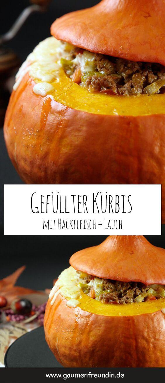 Gefüllter Kürbis mit Hackfleisch und Lauch #pumpkinrecipes