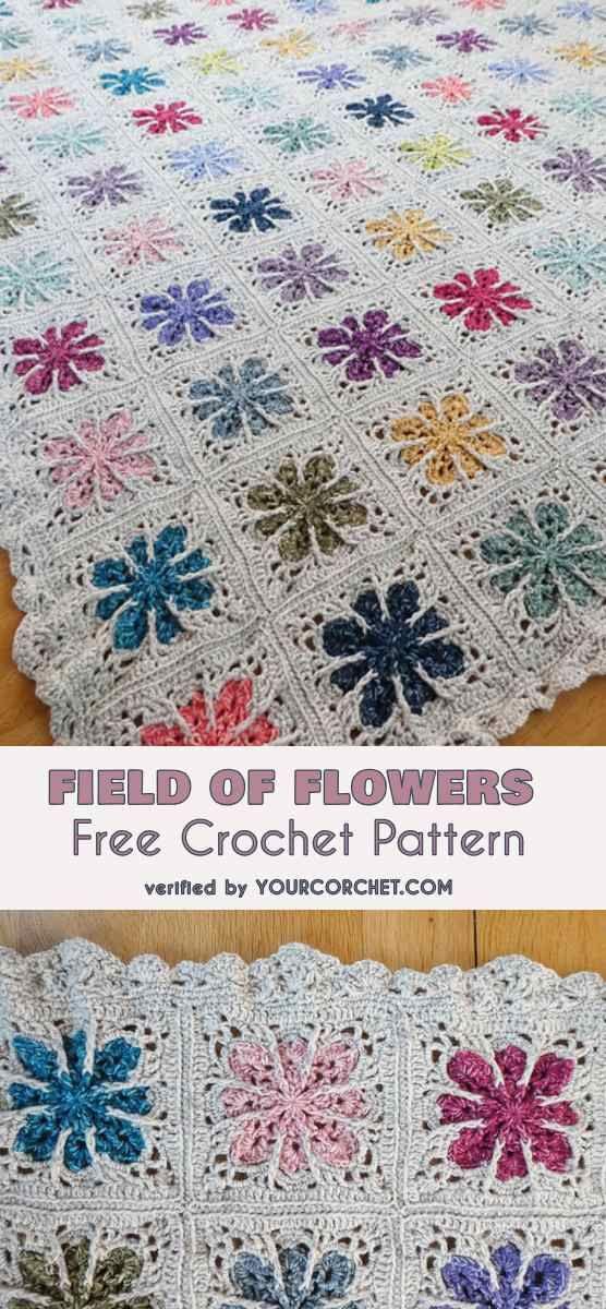 Field of Flowers Blanket Free Crochet Pattern | Diy\'s | Pinterest ...