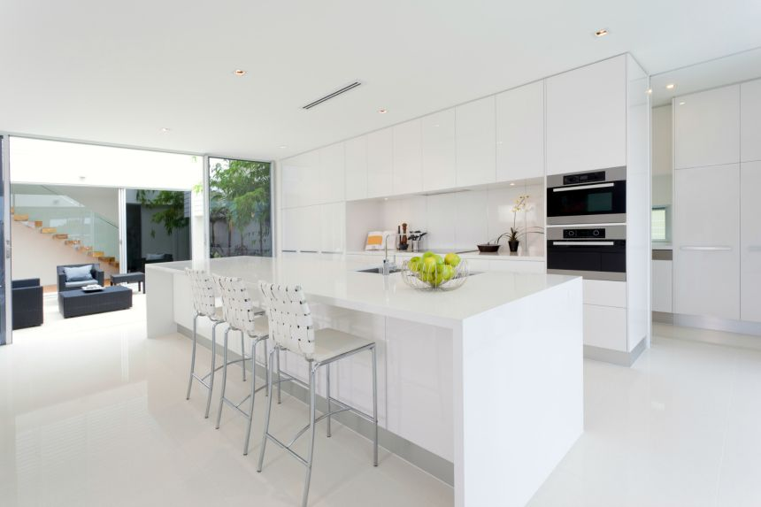 All White Modern Kitchen Some of these kitchens are 600 square feet alone and feature ovens, stoves,  microwaves, refrigerators and all the necessary components that would go  into a ...