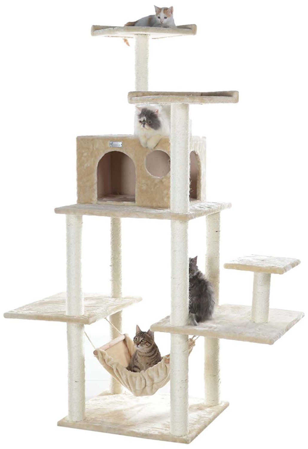 gleepet cat tower condo is covered with beige faux fur  gleepet u0027s 68 inch cat tower features a cat condo hammock multiple levels and 2 high cat perches  gleecat 68 in  5 level cat tree with hammock   insider u0027s special      rh   pinterest