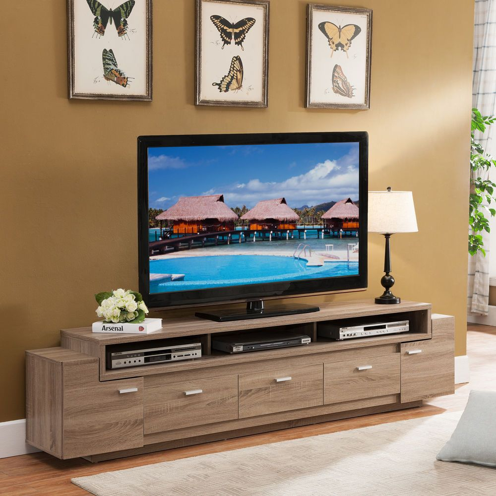 Oak Cabinets Living Room 84 Inch Peyton Modern Tv Stand Entertainment Unit Center Light Oak