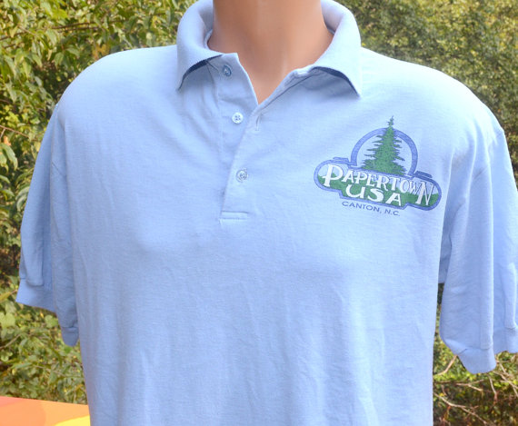 cd54ef4c vintage 80s polo golf shirt CANTON papertown usa north carolina mill  factory trees Large Medium tour