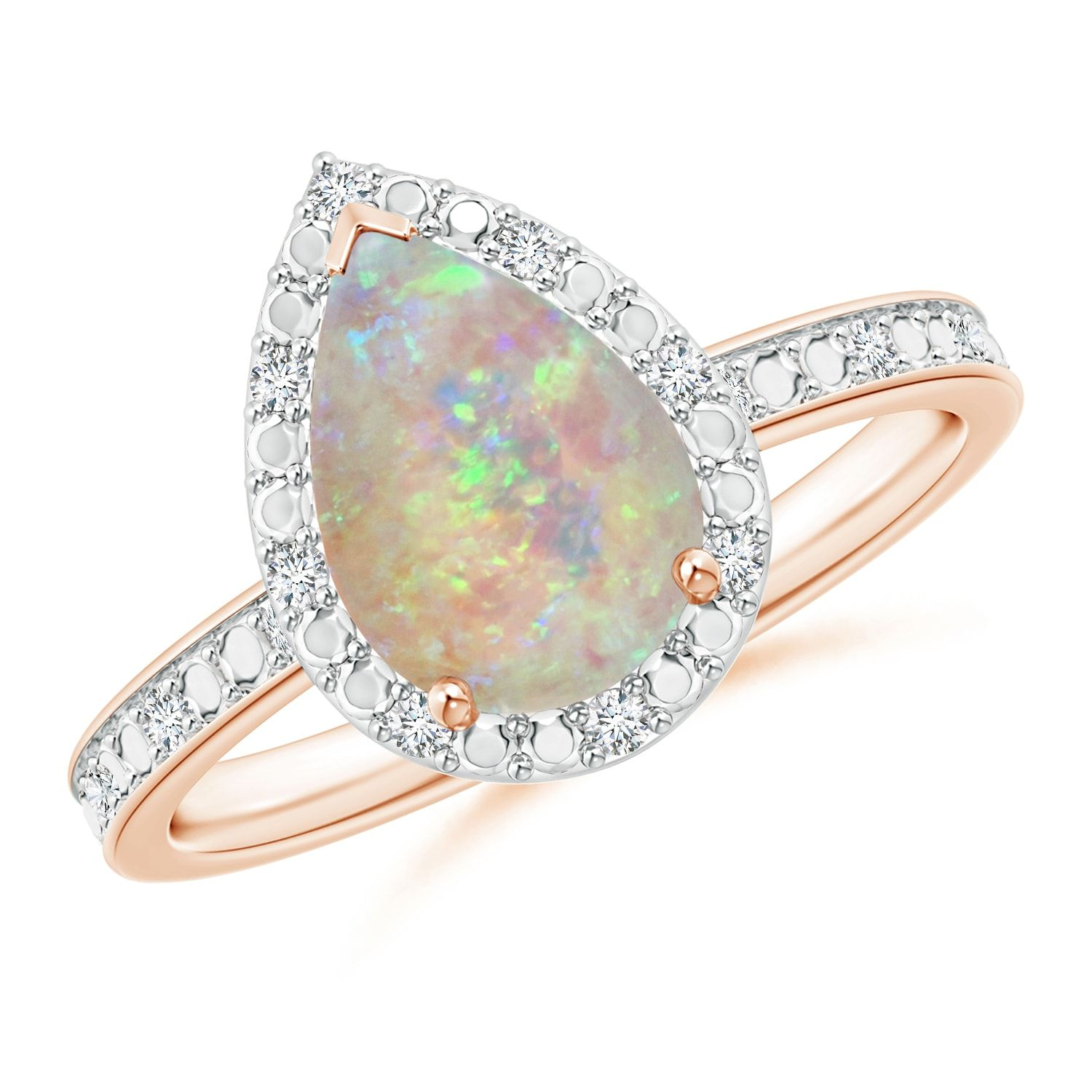 Prong Set Pear Shaped Opal Ring With Diamond Halo White Gold Opal Ring Opal Rings Yellow Gold Opal Ring