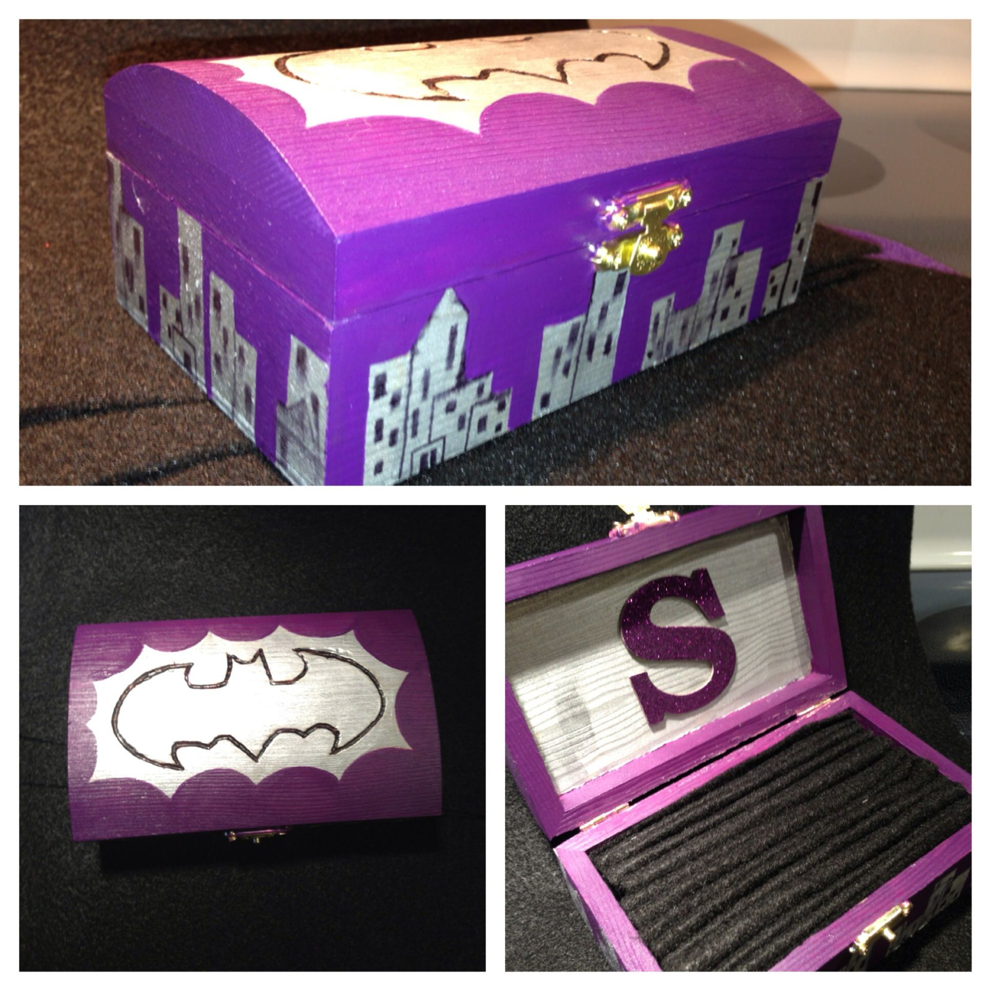 DIY batman jewelry box black and yellow would be much better