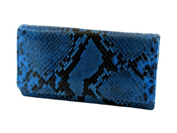 Shiny python woman's wallet color blue