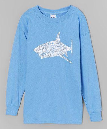 Another great find on #zulily! Blue Shark Word Art Long-Sleeve Tee - Boys #zulilyfinds
