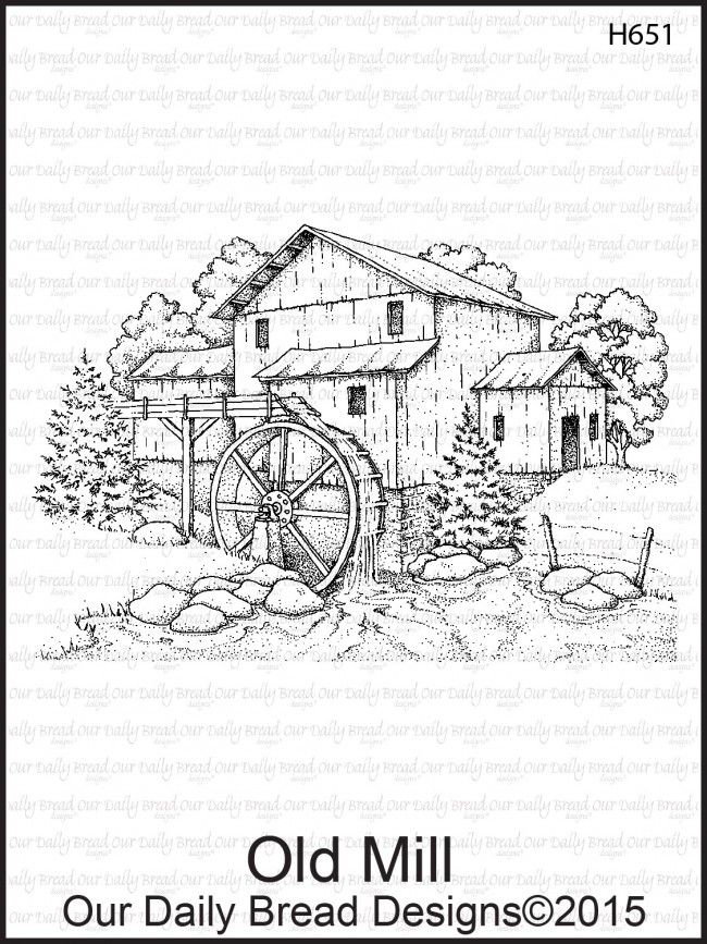 Our Daily Bread Designs Stamp Old Mill Ink Pen Drawings
