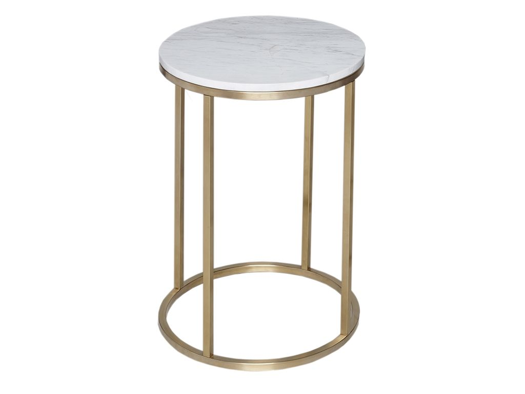 Circular Side Table   Kensal MARBLE With BRASS Base   Circular Side Table  With Marble Top And Satin