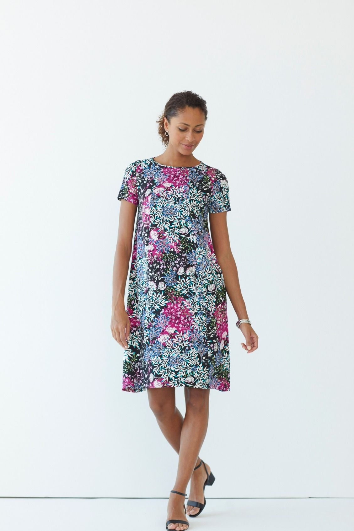 90cc84517d Summer s finest florals (featuring J.Jill s Wearever Swing Dress) Spring  Into Action