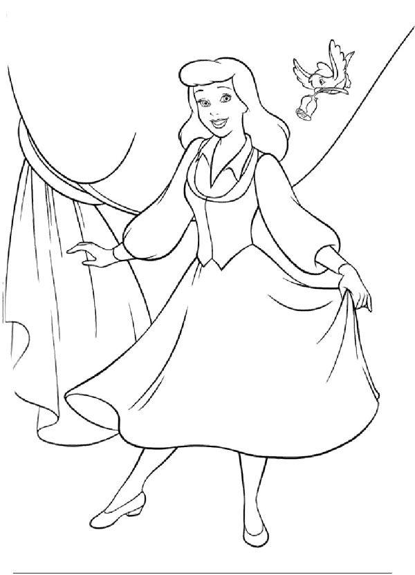 Cinderella Singing And Dancing Coloring Page   Cinderella ...