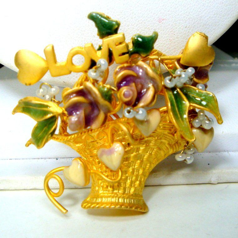 Easter With Loveamp; PinEnamel Basket Roses Flower BroochFilled WY29EHDI