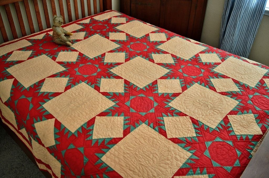 Antique 19th C Never Washed Hand Stitched Feathered Star Quilt 13 SPI * | eBay