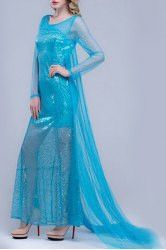 Charming Women's Scoop Neck Sequined See-Through Long Sleeve Dress