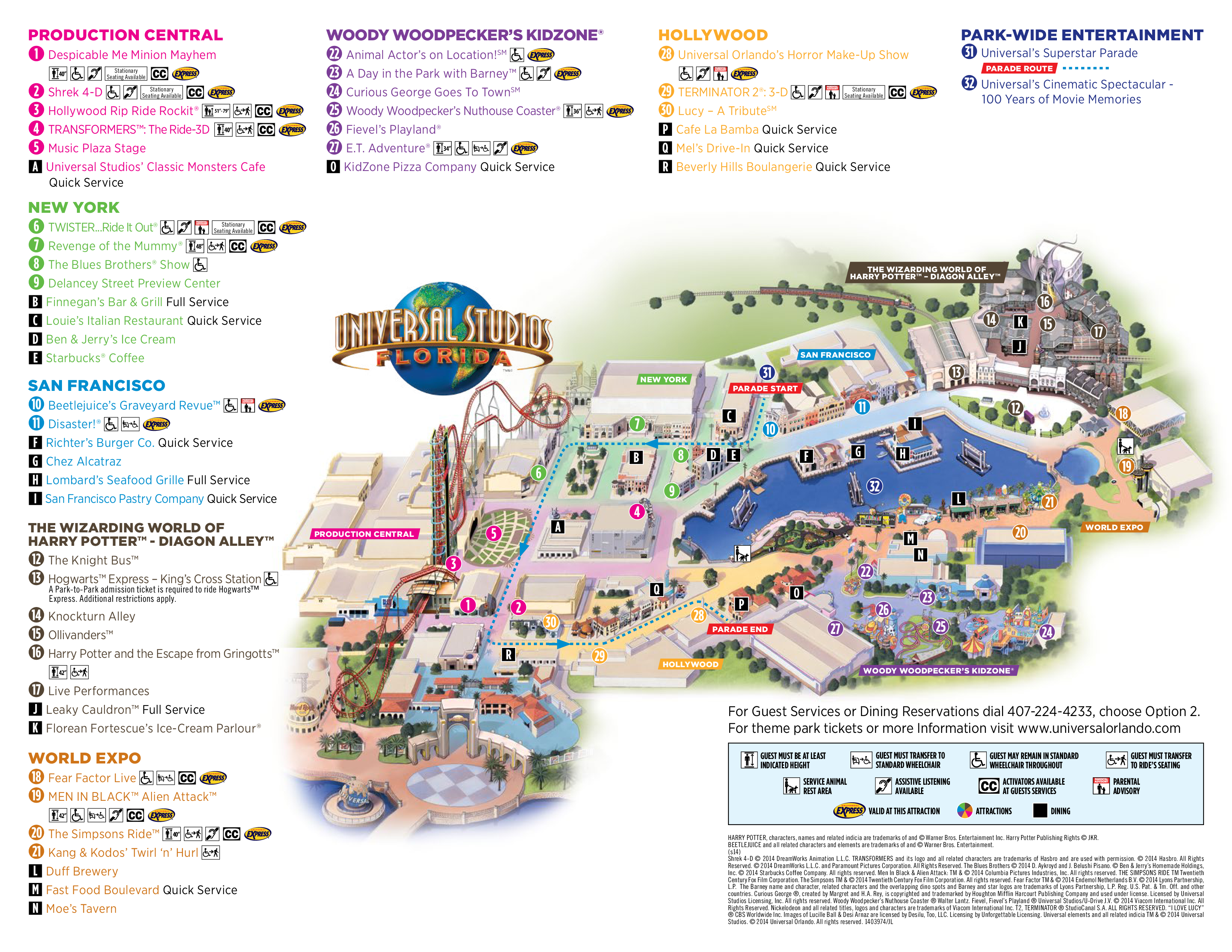 Orlando Florida Area Maps Universal Studios Park Map Universal - Florida map attractions