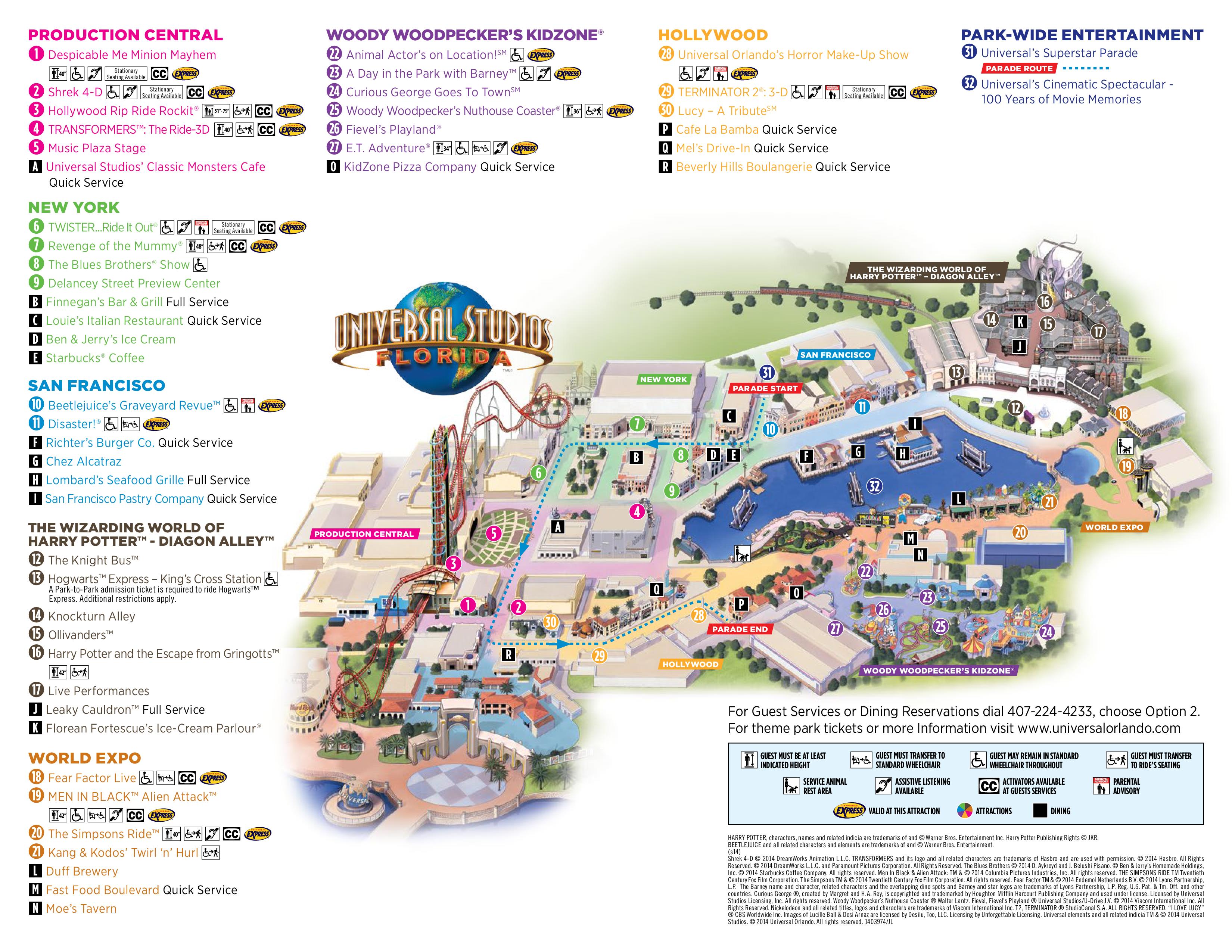 Universal Studios Orlando Map 2015 map of universal studios, orlando florida 2015   1✔️, 2✔️, 3