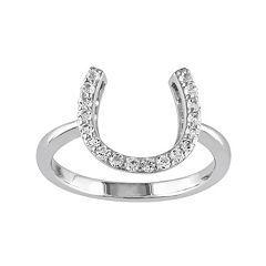 White Topaz Sterling Silver Horseshoe Ring