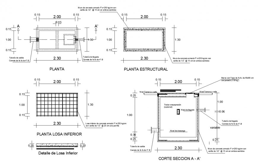 Plan With Design Of Area With Structural And Sectional Design Of Wall And Tube Foundation Dwg File Breaker Box Slab How To Plan