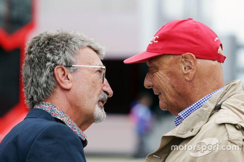 (L to R): Eddie Jordan, with Niki Lauda, Mercedes Non-Executive Chairman