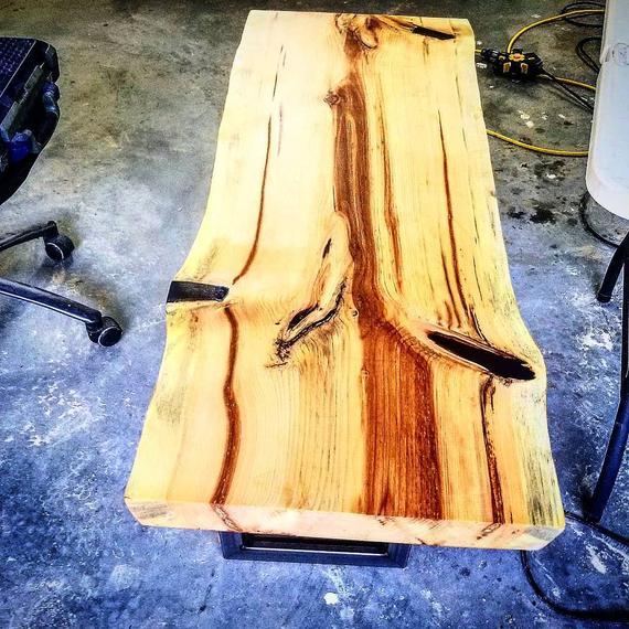 Natural Live Edge Pine Coffee Table W Blue Pigment Epoxy Pine