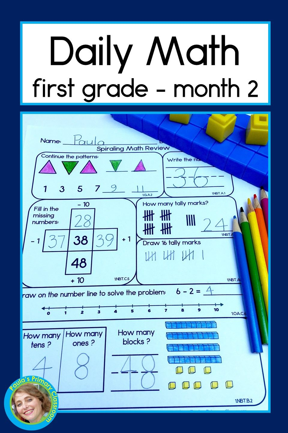 This Is Perfect For First Grade Morning Work It S No Prep Covers So Many Math Skills And Is Even Common Core Aligned I Love The Daily Math First Grade Math [ 1440 x 960 Pixel ]