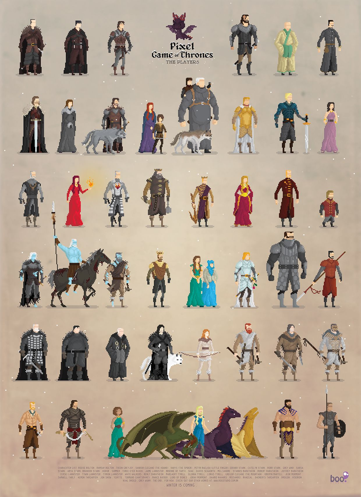 Game Of Throne Personnage : throne, personnage, Pixalry, Thrones, Poster,, Pixel, Games,