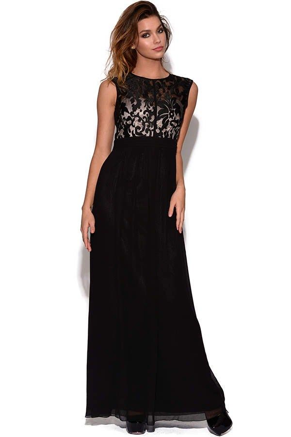 Stunning Black Lace Maxi Dress For Wedding Occasion Maxi Dresses