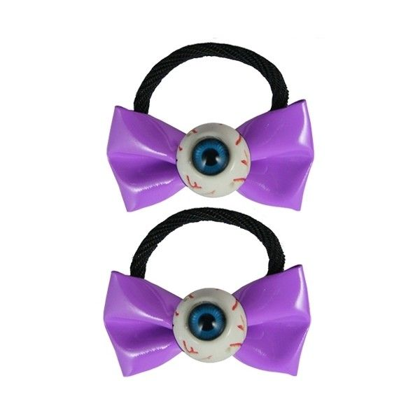 Kreepsville 666 Eyeball Bow Hair Bobbles (Purple) (£7.20) ❤ liked on Polyvore featuring accessories, hair accessories, bows, purple hair accessories, kreepsville 666 and hair bow accessories