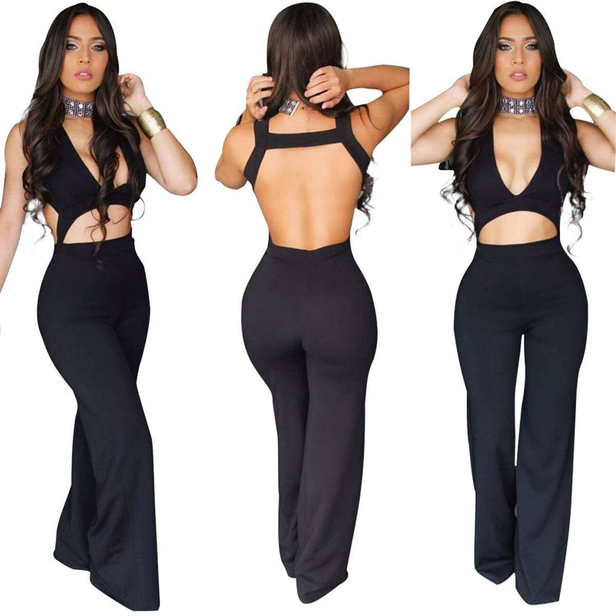 71395ef343a Hot Women V Neck Sleeveless Bodycon Bandage Bodysuit Jumpsuit Rompers Long  Pants