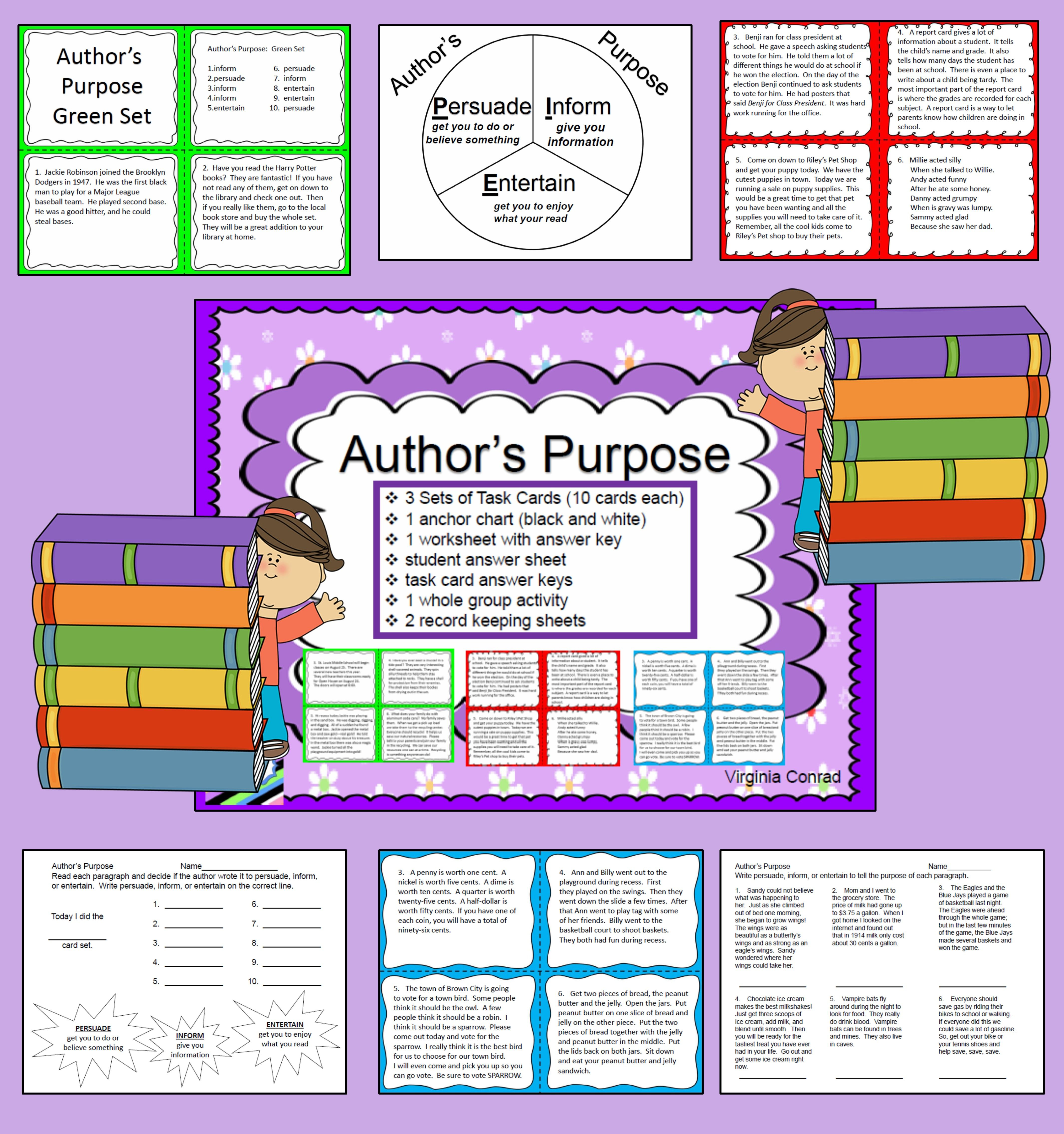 Author S Purpose 3 Sets Of Task Cards And More