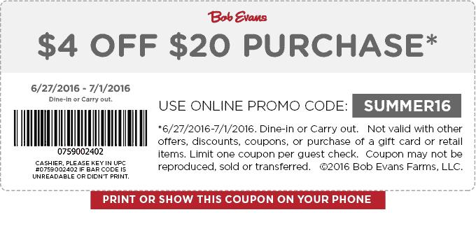 Pinned June 28th: $4 off $20 at #BobEvans restaurants #TheCouponsApp