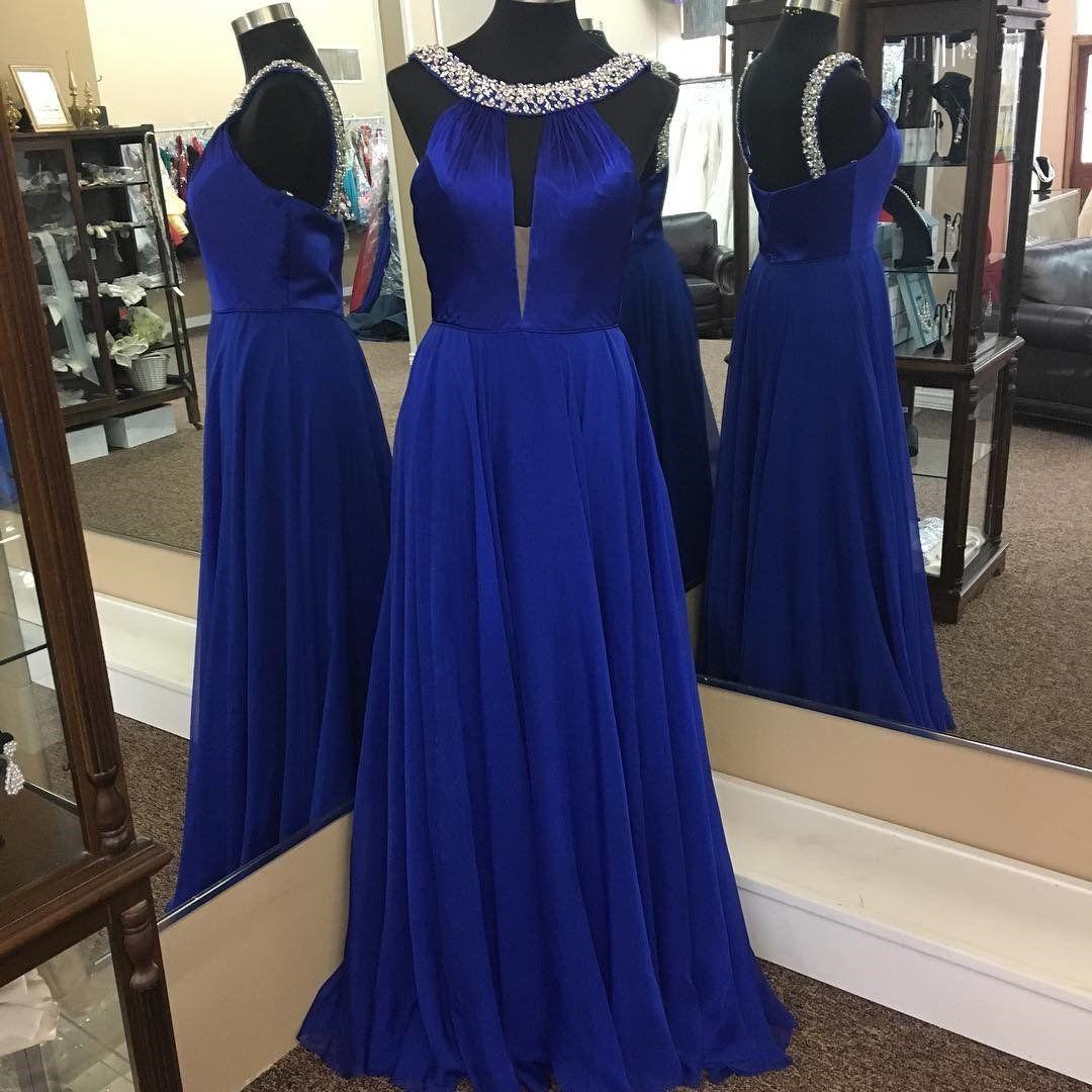 Royal blue prom dresshalter prom dresslong chiffon prom gownssexy
