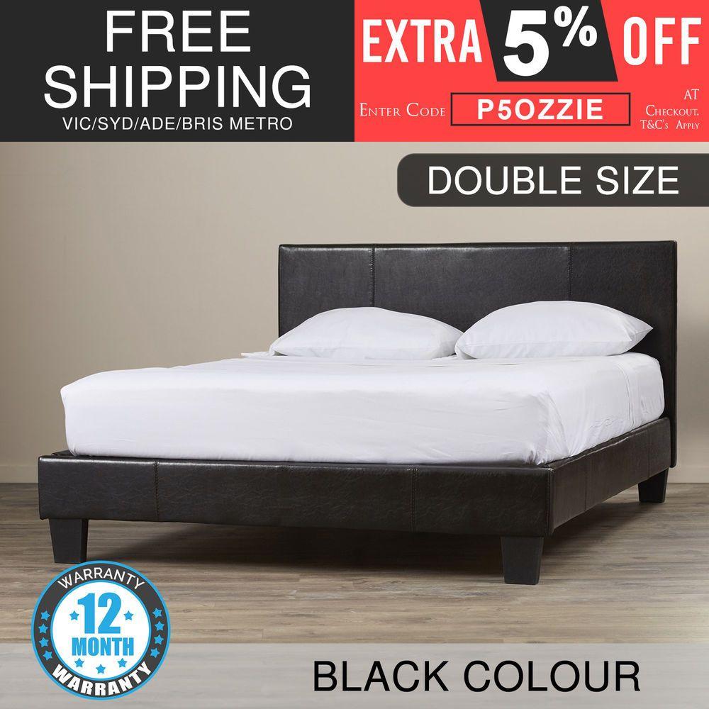 New Stylish Bed Frame Double Pu Leather Wooden Slat Base Metal Bar