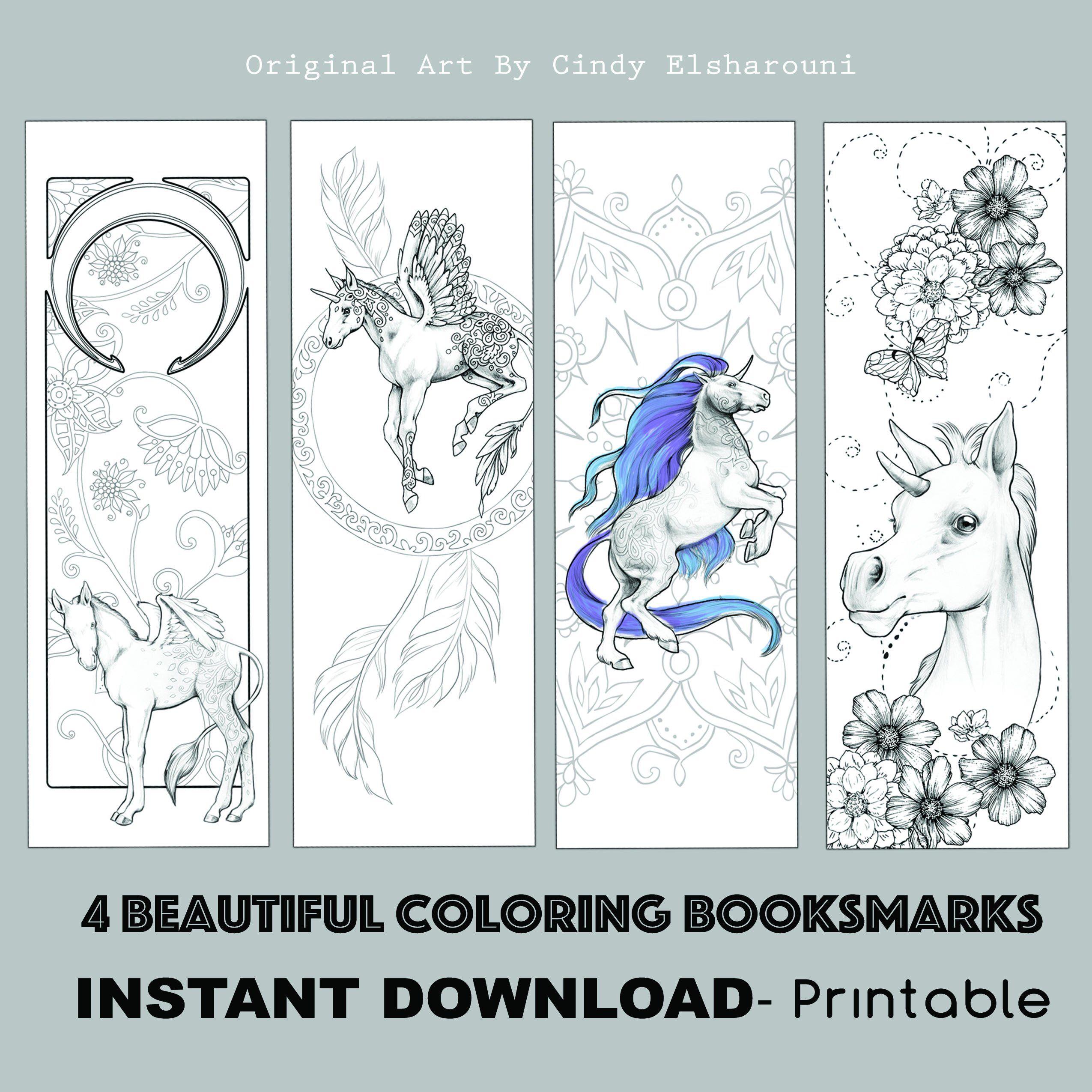 d.i.y book mark prints instant download bookmark coloring