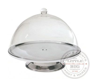 41.95$ Stainless Steel Cake Stand and Round Dome - Medium