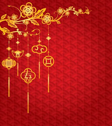 Chinese New Year Background With Golden Decoration Vector Art Illustration Seni Desain Dekor
